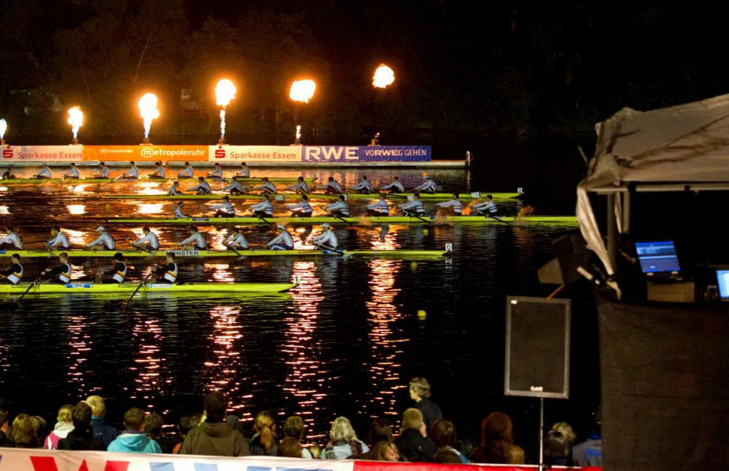 Das Highlight der Deutschen Sprintmeisterschaften - Flutlichtfinals. Quelle: DRV/rudern.de