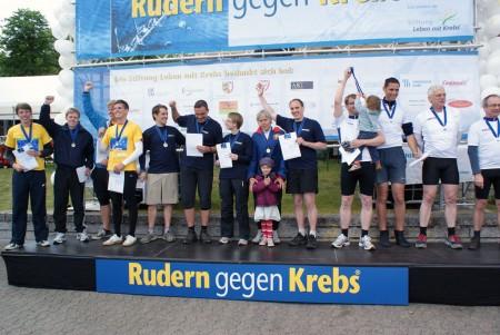 Tobias Schäfer (5. v. l.) gewinnt im Boot von REpower Systems die Benefizregatta »Rudern gegen Krebs« in Kiel. Foto: A. König