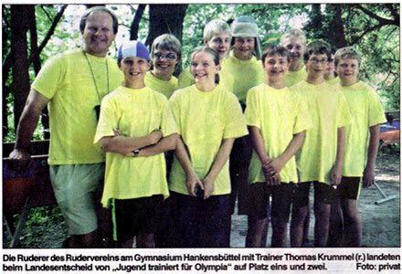 Die Ruderer des RVGH mit Trainer Thomas Krummel